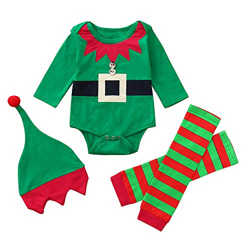 MYONA 2 Piezas Conjuntos de Ropa Beb/é de Navidad Sombrero de Ryas Xmas Ropa Bebe Reci/én Nacido de Navidad 6-24M Traje de Navidad Mameluco de Manga Larga con Estampado de Dibujos Animados Suave