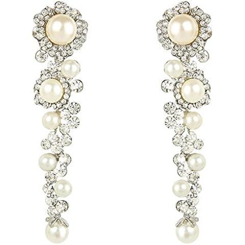 Ever Faith Nuziale Silver-Tone Flower perla simulata chiari orecchini di cristallo austriaco A10175-1