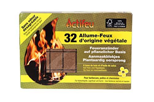 Actifeu ACTBCC32 Allume-feu Cubes Bois compressé, Neutre