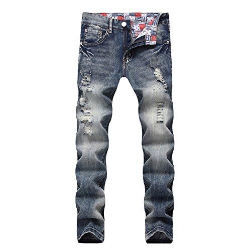 BicRad Herren Jeanshose Destroyed Denim Jeans Usedlook Slim Blau