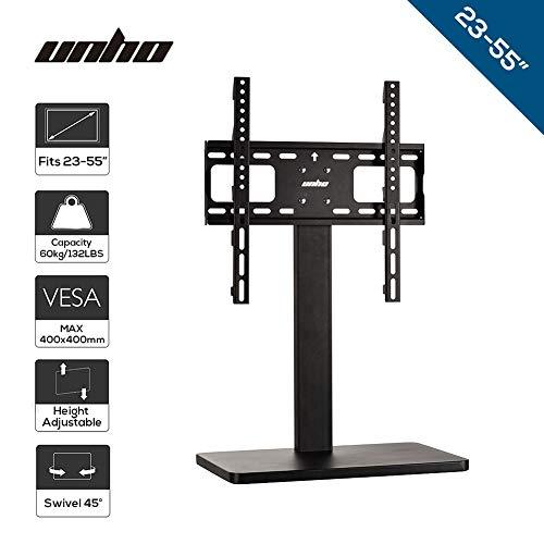 unho® TV Ständer Standfuß Universal 120mm Höhenverstellbar Halterung Fernsehstand für 26-55 Zoll LED LCD OLED Plasma Flachbildschirm bis 60kg VESA 400×400 (Led Tv 42 Insignia)