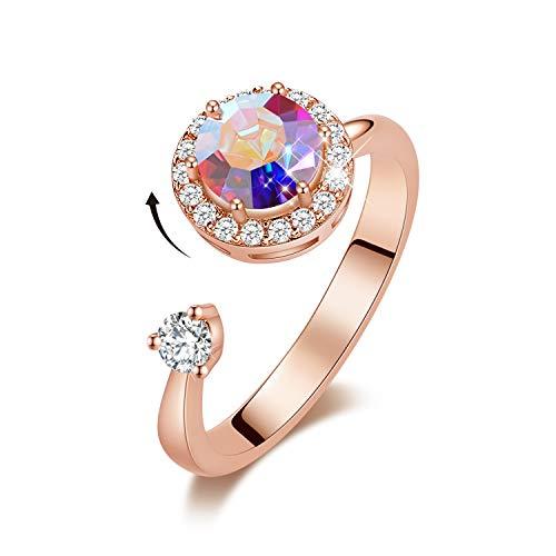 dc094f9f0c23d CDE Bunte Kristall Ringe Damen Rings Rose Gold Ring für Damen Frau Ring mit  Herz shape Bunte Embellished with crystals from Swarovski Damen Schmuck ...