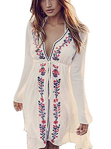 Jastore®boho Damen Strandponcho Sommer Kleid Überwurf Kaftan Strandkleid Bikini Tunika Cover Up (Weiß)