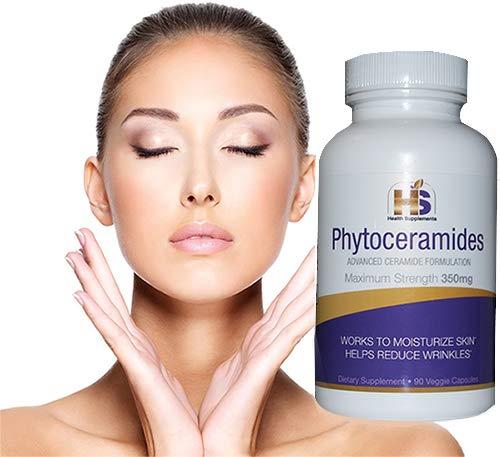 Phytoceramides, 350 Milligram, 90 Veggie Capsules with advanced Ceramides Formulation (3 months supply) Deep Skin Moisturizing, Plant Derived, GMO and Gluten Free - USA Made