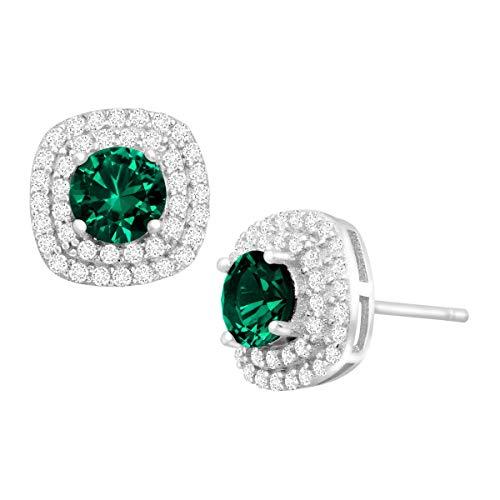 11/2Karat Smaragd und Zirkonia Halo Ohrstecker in Sterling Silber -