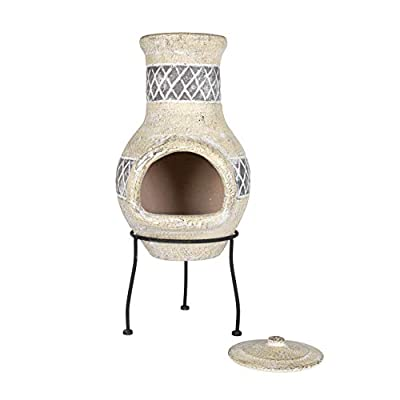 Oxford Barbecues Radley Cream With Grey Detail Clay Chiminea Patio Heater from La Hacienda