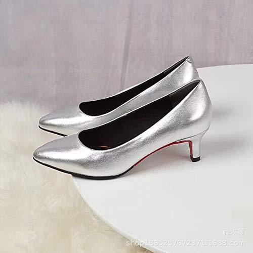 Yukun Schuhe mit hohen Absätzen Herbst-Einzelne Beschuht Damen-Einzelne Schuh-Flugbegleiter-Besetzung 3 cm Fein Mit Silber, Silber, ()