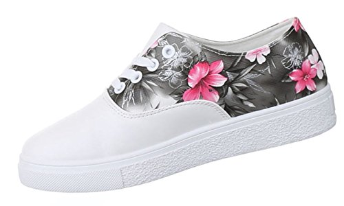 Damen Sneakers Schuhe Freizeitschuhe Slipper Sportschuhe Runner Turnschuhe Weiß Schwarz Rosa 36 37 38 39 40 41 Weiß Schwarz
