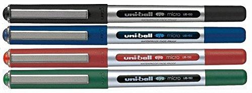 UNI-BALL - Penna EYE MICRO UB-150 (Confezione assortita da 4: 1 nera, 1 blu, 1 rossa e 1 verde)