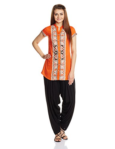 Rain and Rainbow Women's Straight Kurta (3001-15/8-2_ORANGE_Large)