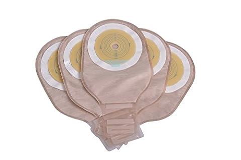 Ouchan Ostomy Pochettes d'évacuation facile à vider Pouch avec carte de mesurer, collier de serrage pour Colostomie Iléostomie Stomate Care, Cut-to-Fit, Approuvé par la FDA