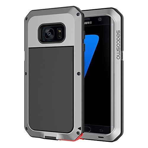 seacosmo Galaxy S7 Edge Hülle, [Tough Armor] Aluminium Doppelte Schutz Stoßfest Schutzhülle für Samsung Galaxy S7 Edge, Silber