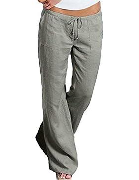 Saoye Fashion Pantalone Donna Eleganti Pantaloni Estivi Lunga Coulisse Monocromo Pantaloni Palazzo Leggero Ragazze...