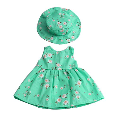 MagiDeal Puppenkleider Blumenkleid & Hut Anzug, Puppe Outfit Für 18 Zoll American Girl Puppe - Grün American Baby-puppe
