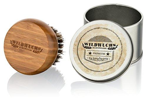 Brosse à barbe avec poils de sanglier naturels et manche en bambou de première qualité - Brosse à barbe de Wildwuchs Bartpflege - soins barbe d'Allemagne - Set de voyage