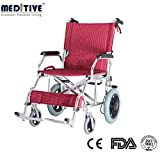 MEDITIVE Aluminium Lightweight and Foldable Transit Wheelchair with Backrest and FlipUp Legrest