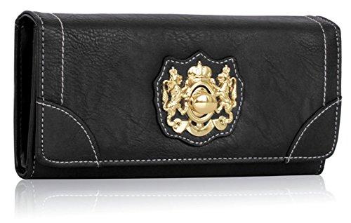 LeahWard® Kunstleder Damen nett Groß Klappe Geldbörsen Brieftasche Geldbörse Münze Tasche 1040 141 (Grün H10cm x W19cm x D3cm) Schwarz Klappe Geldbörse