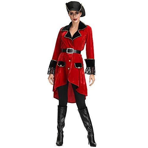 Aiserkly Damen Halloween Sexy Piratenanzug Kostüm Dessous Kleidung Gothic Kleid Renaissance Kostüm Mittelalter Halloween Party Kostüm Rot (Märchen Hexe Samt Kind Kostüm)