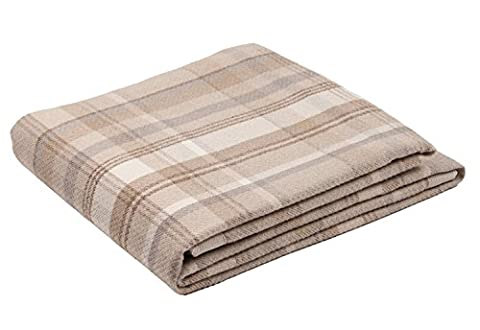 McAlister Textiles Heritage   Long Soft Wool Feel Tartan Check Tweed Natural Beige Brown & White Throw Bed Spread Sofa Runner   130 x