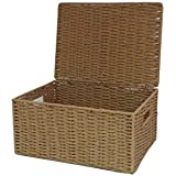 Arpan–Cuerda de papel natural cesto con tapa, natural, large