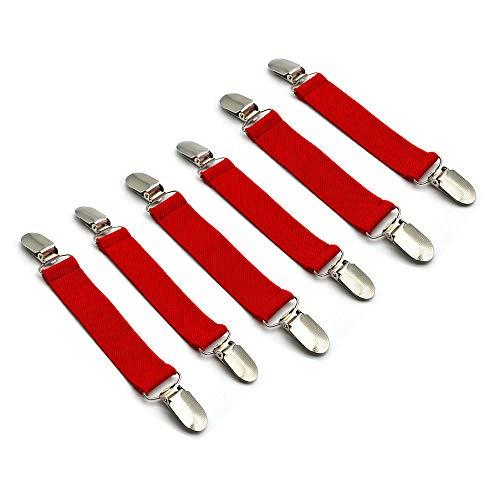 Mmrm 2Pcs Rutschfest Handschuhe Clips Nylonfolie elastische Handschuh Anti Rutsch Gürtel für Kinder & Erwachsene Rot (Handschuh-clips Erwachsene Für)
