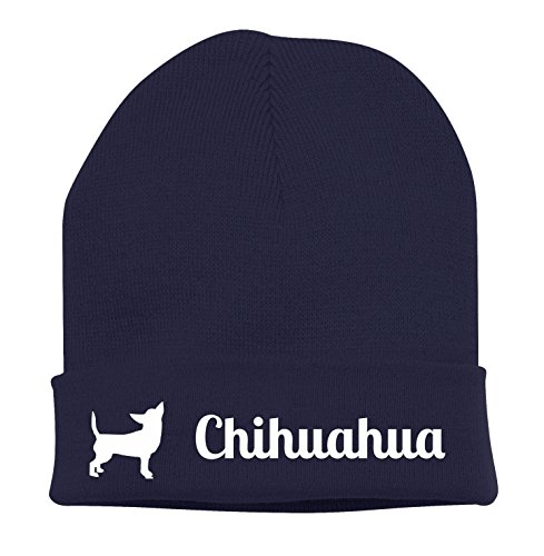Strickmütze - CHIHUAHUA Chiwawa Chi mexikanische Hunderasse klein LANGHAAR - Stickerei Hund Winter Mütze Wintermütze Beanie Mütze Siviwonder navy-weiß (Mexikanischer Stickerei)