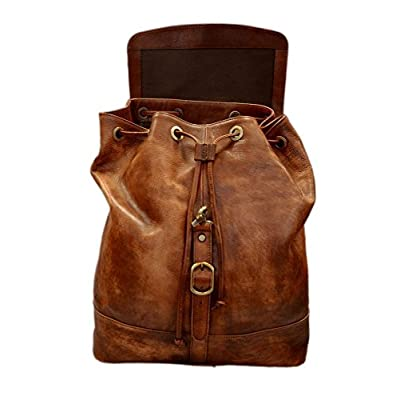 Vintage leather backpack genuine washed leather travel bag weekender sports bag gym bag leather shoulder ladies mens brown backpack - handmade-bags