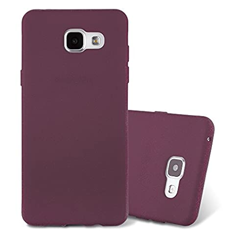 Cadorabo – Ultra Slim TPU Frosted Mate Coque Gel (silicone) pour > Samsung Galaxy A3 (6) - Modèle 2016 < – Housse Case Cover Bumper en FROSTED-LILAS-BORDEAUX
