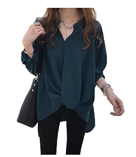 VITryst Women Chiffon Blouse Irregular Hem Long-Sleeve Fitted Woven Shirt Green L -