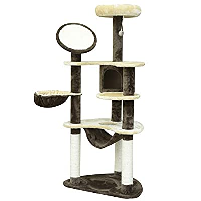 Pawhut 153cm Scratcher Activity Center Tower House Cat Tree Post Climbing Hammock Condo Perch from Sold by MHSTAR