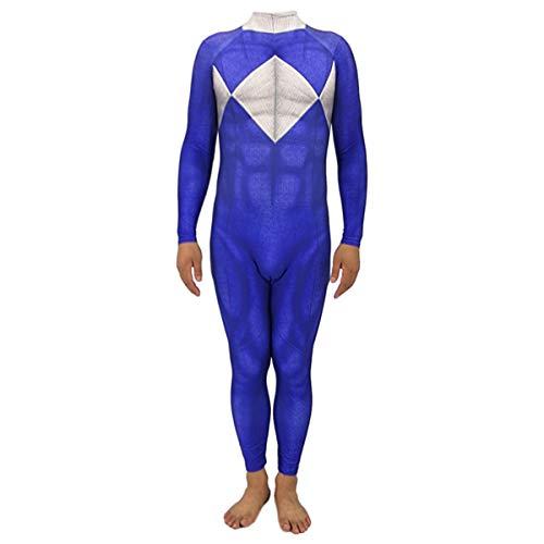 QQWE Rangers Cosplay Kostüm Kinder Erwachsene Weihnachten Halloween Show Kostüm Kleidung Superheld Body Overalls,Blue-Children~M