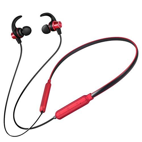 Bluetooth Kopfhörer in Ear Sport Bluetooth JL 5.0 HiFi Noise Cancelling Kopfhoerer IPX5 Wasserdicht 4-8 Stunden Spielzeit Kopfhörer Kabellos mit Mikrofon Hang Neck BT Sports (Rot)
