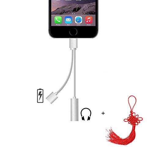 iPhone 77Plus Lightning Adapter 3,5mm Audio Kopfhörer, sanboh Dual Funktion 8Pin aufladen und Musik Buchse Audio Jack gleichzeitig für iOS Geräte iPad iPod iPhone 66S Plus