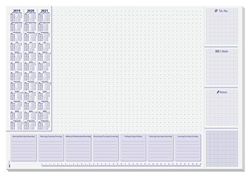 SIGEL HO355 Papier-Schreibunterlage, ca. DIN A2 - extra groß, mit 3-Jahres-Kalender und Wochenplan, 30 Blatt