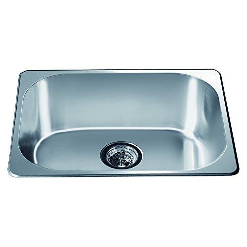 Dawn 3233 Top Mount Single Bowl Bar Sink, Polished Satin Finish by Dawn