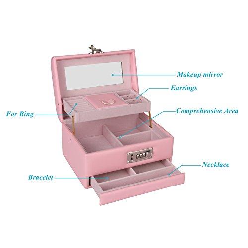 TSSS 3-Code Zahlenschloss Schmuckkasten mit Spiegel Damen Mädchen Abschließbar Schmuckkoffer Pink Kunstleder Schmuckkästchen Schmucklade Boxen - 4