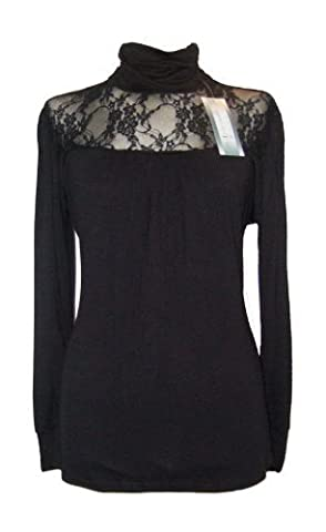Size 20/22 Black Lace Gothic Victorian Lace Roll Polo High Neck Top Blouse
