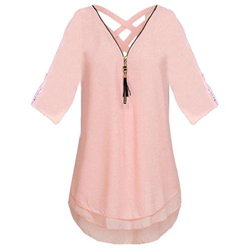Sommer Kurzarm Streifen Tops V-Neck Oberteil Mode Weich Bluse Loose Casual(XL, Rosa) (Engel Frau Kostüm)