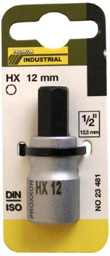 "Proxxon 23 481 Vaso y Punta Hexagonales de 1/2\"", Tamaño HX 12mm, Longitud Total 55mm"