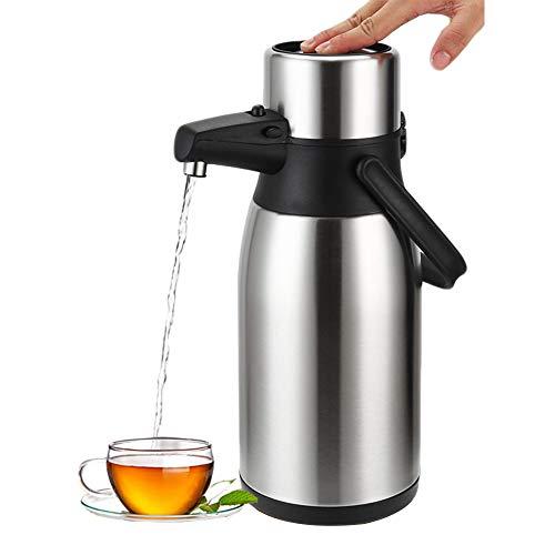 Airpot Thermoskanne Pumpkanne Edelstahl Kaffee Teekanne, Vakuum Isoliert Thermosflasche Drucktopf Zuhause Büro Hotel (2.5L)