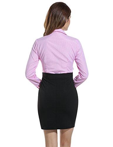 ANGVNS Damen BleistiftKleid Hemdblusenkleid Blusenkleid Gefälschte Zweiteilige Pencil bodycon Kariert Langarm Hemdkragen Business Baumwollmischung (XL, Rot) -