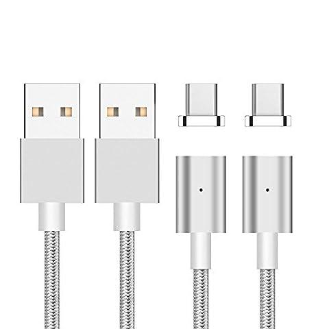 [Version de mise à jour]Câble de charge magnétique USB Type C-Garantie à vie-TUOYA Magnétique Câble USB Type C à USB 3.0 Câble USB C 1M Type C Câble de Données Adapteur Convertisseur Port Data Sync câble Chargeur et noyau de chargement rapide avec affichage d'état LED, pour Samsung Galaxy S8, S8 + OnePlus 3T / 3, HTC 10, Nexus 5X, Nexus 6P, Huawei P9, Huawei P9 plus (2xArgent)