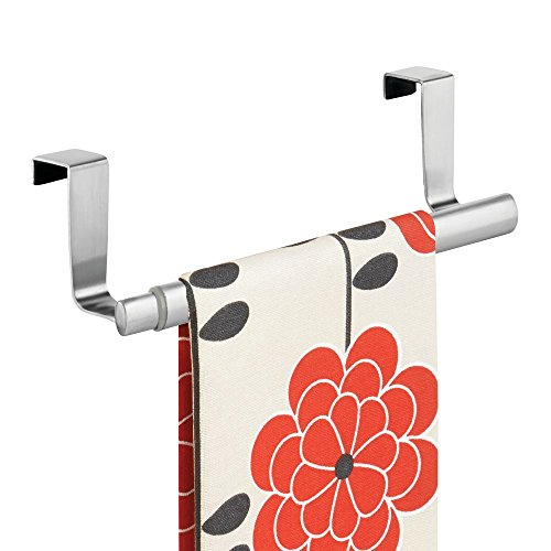 mDesign Over-the-Cabinet Expandable Kitchen Dish Towel Bar Rack - Brushed Stainless by MetroDecor (Handtuchhalter Natürlichen Stahl)