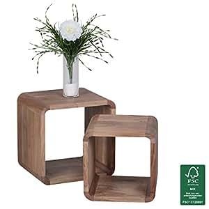 wohnling 2er set satztisch massiv holz akazie wohnzimmer tisch landhaus stil cubes beistelltisch. Black Bedroom Furniture Sets. Home Design Ideas