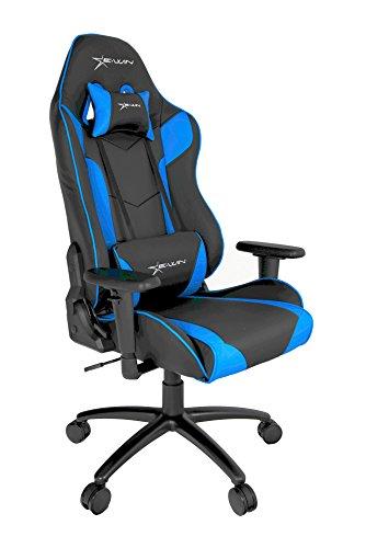 E-Win Schreibtischstuhl/Gaming Stuhl/Bürostuhl/Chefsessel mit Armlehnen, hochwertig Kunstleder PU, Sportsitz inklusiv Kissen (Champion Series Blau)