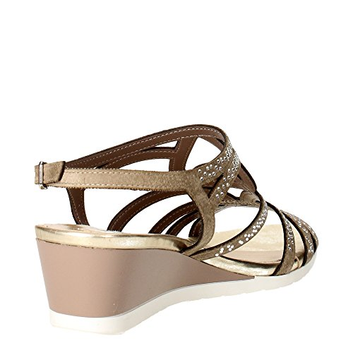 TOUCHES 5436 taupe chaussures bracelet femme sandale zeppetta strass Marron Taupe