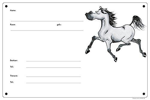 """Boxenschild / Stalltafel """"Angeber"""" (Vollblut/Araber/Warmblut/Pony) Schimmel"""