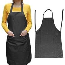 SODIAL(R) Unisex 2 Bolsillo Negro Delantal Peto de Cocina, un Tamano de Medio