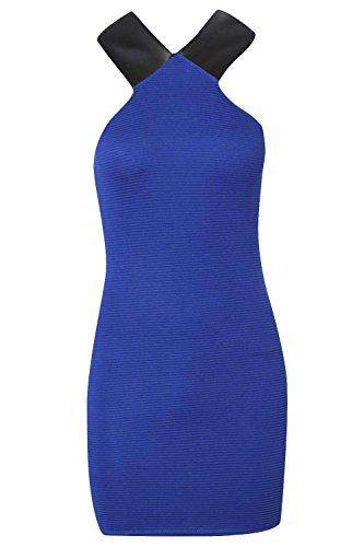 Femme Cobalt Petite Libby PU Detail côtelé Bodycon Robe Cobalt