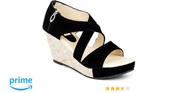 c014cdc9ab6a VAGON Women and Girls Platform and Wedges Sandals Nubuk and Suede Leather  Black VJ 212-BLACK  Buy Online at Low Prices in India - Amazon.in